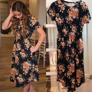 Black Fall Floral Dress